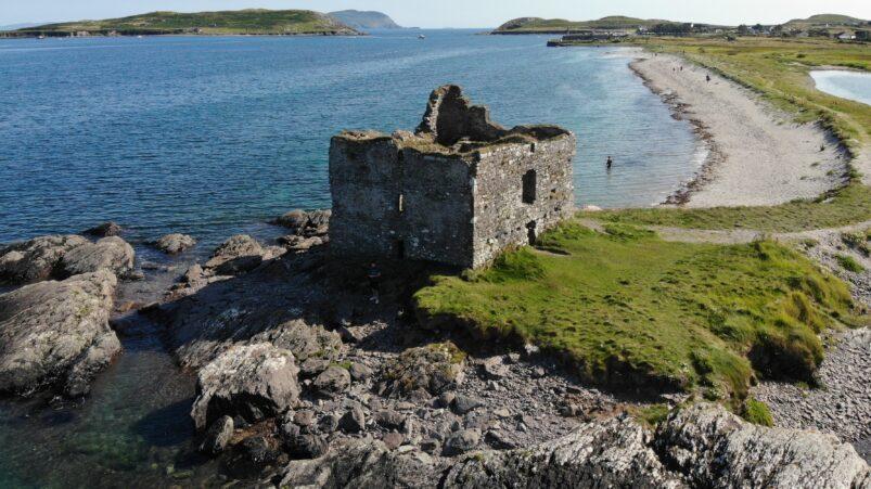 Ruins of Ballinskelligs Castle in Ireland