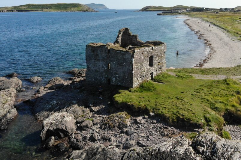 Ruins of Ballinskelligs Castle in Ireland