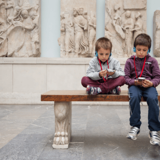 Kids in Pergamonmuseum in Berlin, Germany