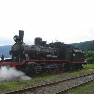 Locomotiva a vapore sulla Gamle Vossebanen in Norvegia