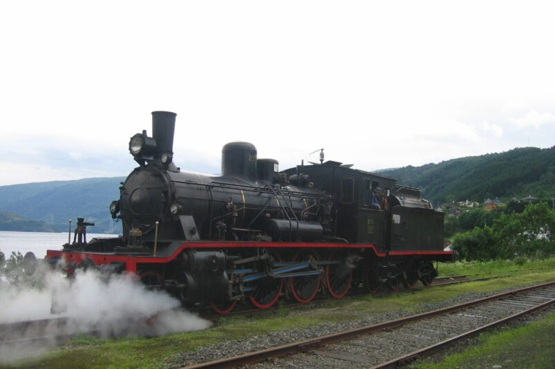 Steam locomotive on the Gamle Vossebanen in Norway