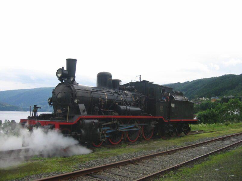 Steam locomotive on the Gamle Vossebanen in Norway