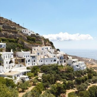 Tinos: View of the Cardiani settlement in Tinos island. Locals and heritage experts warn against the planned installation of wind power infrastructure in this small-scale, layered landscape. Image: Marilena Mela